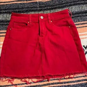 Pacsun red jean skirt